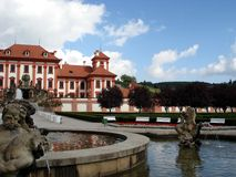 Troya castle, fountain, Prague Stock Photos