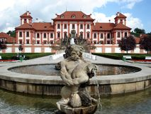 Troya castle,Prague, fountain stock photos