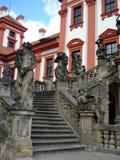 Troya Schloss, Treppenhaus, Prag Stockfotografie