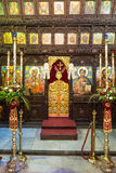 Troyan Monastery in Bulgaria: a carved wooden iconostasis stock photo