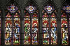 Troyes - Cathedral. Troyes (Aube, Champagne-Ardenne, France) - Interior of the ancient cathedral, in gothic style, stained glasses: the little prophets Royalty Free Stock Image