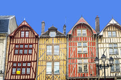 Troyes, colorful half-timbered houses. Troyes (Aube, Champagne-Ardenne, France) - Ancient half-timbered buildings Royalty Free Stock Image