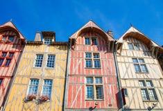 Troyes, Francia - case a graticcio tipiche fotografia stock libera da diritti