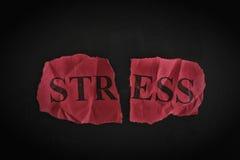 """Trozo de papel rasgado con la palabra """"Stress"""" Fotografía de archivo"""