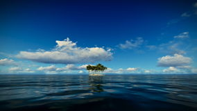 Trpical island isolated by water, seagulls flying, timelapse clouds. Hd video stock video