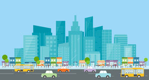 trraffic的城市 人事务在城市 背景营业通讯概念性例证查出的白色 在街道上的人群 城市生活 皇族释放例证
