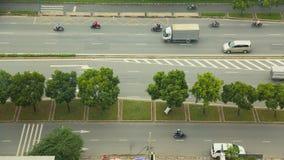 trraffic的城市 鸟瞰图 胡志明 越南 Timelapse 免版税库存照片