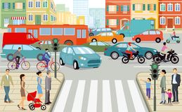 Trraffic stad vector illustratie
