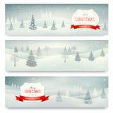 Três bandeiras da paisagem do feriado do Natal. Fotografia de Stock