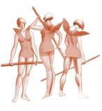 Três benevolências que praticam dançarinos de bailado no esboço da fantasia dos trajes Foto de Stock