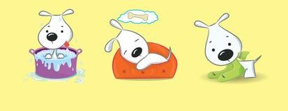 Três cachorrinhos engraçados Imagem de Stock