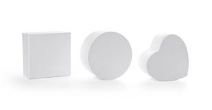 Três caixas de presente do pasteboard com trajeto de grampeamento Imagem de Stock