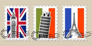 Três carimbos postais com vistas de Europa Fotografia de Stock
