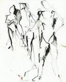 Três figuras 2, desenhando Imagens de Stock