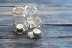 Três frascos de vidro Fotos de Stock