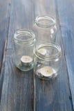 Três frascos de vidro Imagem de Stock