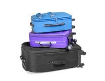 Três malas de viagem prontas Fotografia de Stock