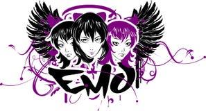 Três meninas de Emo com bandeira Fotografia de Stock