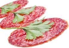 Três partes de salsicha Imagens de Stock