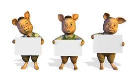 Três porcos pequenos que prendem sinais - com trajeto do grampo Fotos de Stock
