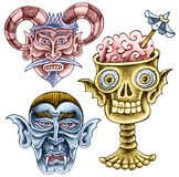 Três sustos dos desenhos animados - um diabo surdo, um vampiro, um crânio Imagem de Stock Royalty Free