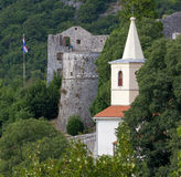Trsat Castle Ruins and Bell Tower in Rijeka Stock Images