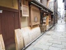 Trätraditionellt hus i gamla Gion Arkivfoto