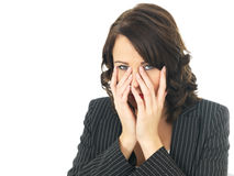 Trött uppriven stressad affärskvinna Royaltyfri Foto