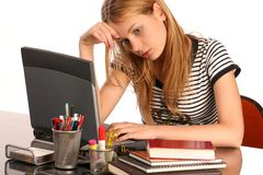 tröttat studera Fotografering för Bildbyråer
