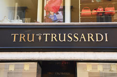 Tru Trussardi sign outside a store. Trussardi is Italian fashion house founded in 1911 in Bergamo, Italy Stock Photography