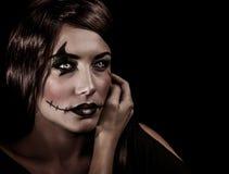 Trucco aggressivo di Halloween fotografia stock