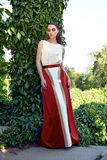 Trucco d'uso di lustro del sole del parco della passeggiata del vestito dalla bella donna sexy Fotografia Stock Libera da Diritti