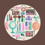 Trucco del modello e modello cosmetico di simboli di bellezza Fotografia Stock