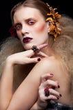Trucco della donna di bellezza di Halloween Fotografie Stock