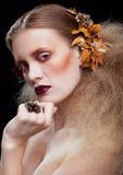 Trucco della donna di bellezza di Halloween Immagini Stock