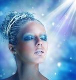 Trucco di inverno di bella donna Fotografia Stock