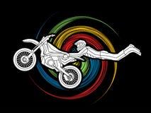 Trucco di volo di freestyle motocross illustrazione di stock