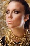 Trucco dorato dell'oro di fascino Make-up Fotografia Stock Libera da Diritti