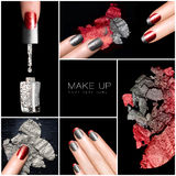 Trucco e chiodo Art Trend Insieme di manicure Fotografie Stock Libere da Diritti