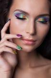 Trucco e manicure colourful professionali immagini stock libere da diritti