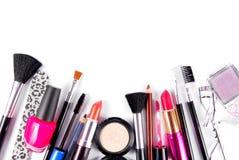 Trucco ed insieme del cosmetico delle spazzole Fotografia Stock Libera da Diritti