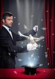 Trucco magico con il piccione fotografia stock libera da diritti