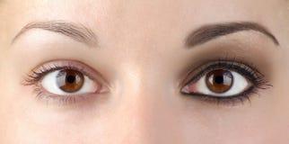 Trucco o no. dell'occhio? Immagine Stock Libera da Diritti