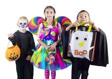 Trucco o Treaters dei bambini di Halloween Fotografia Stock Libera da Diritti