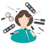 Trucco piano e prodotti e strumenti dei cosmetici Lipstic, spazzole, mascara dell'ombretto, polvere e mascara Fotografia Stock Libera da Diritti