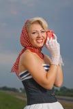 Trucco professionale, capelli e stile Emulazione di stile di pin-up Fotografie Stock