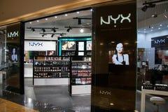 Trucco professionale di Nyx Store nella città di Mosca del centro commerciale Fotografie Stock Libere da Diritti