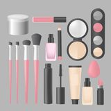 Trucco realistico e prodotti e strumenti dei cosmetici Lipstic, spazzole, mascara dell'ombretto, polvere e mascara Fotografia Stock
