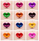 Trucco variopinto delle labbra di amore del cuore Fotografie Stock Libere da Diritti