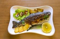 Trucha arco iris de los pescados crudos con el limón y verdes en la placa blanca Fotos de archivo libres de regalías